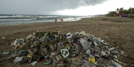 Plastic bags washed up in Bali